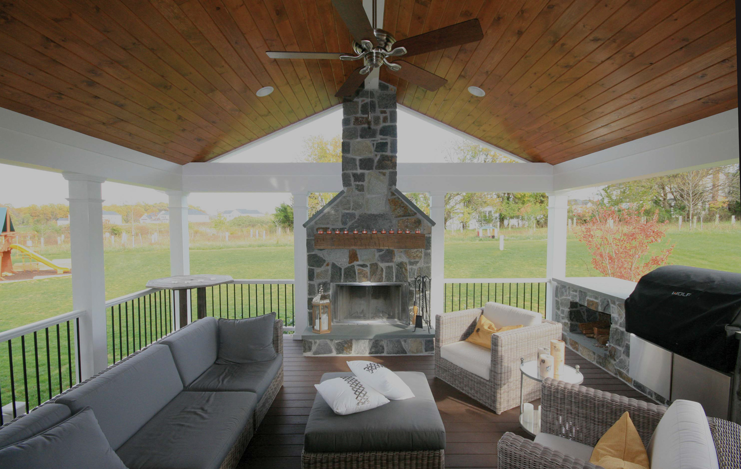 Maryland Porch with fireplace design