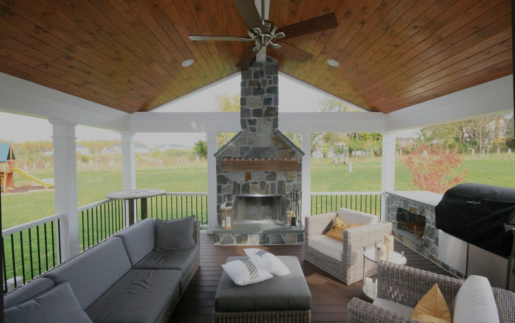 Maryland Screened porch with fireplace design