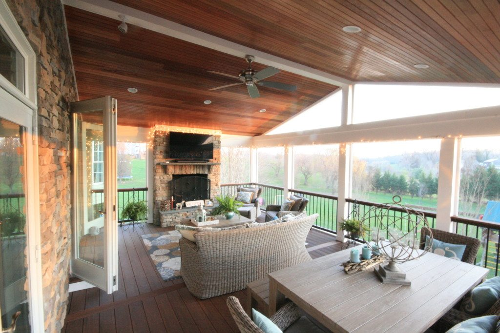 Screen Porch Fireplace Mahogany Ceiling