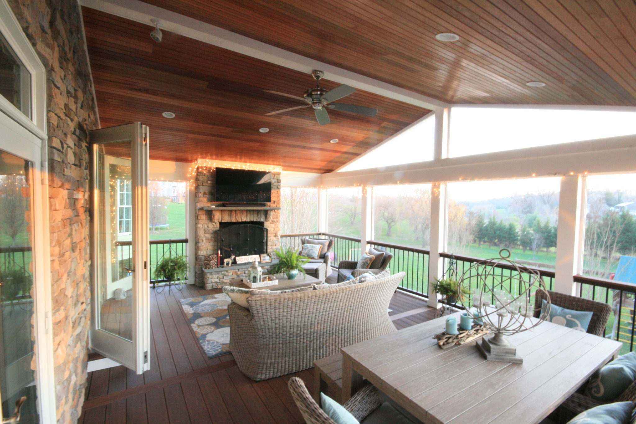 screen porch fireplace mahogany ceiling - Screen Porch Design Ideas
