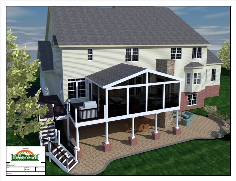 3D Cad deck screen porch design