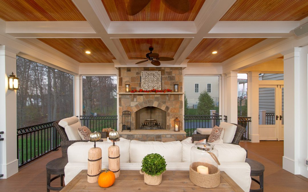Maryland Screened Porch Contractor Builds Screen porch with fireplace in West Friendship