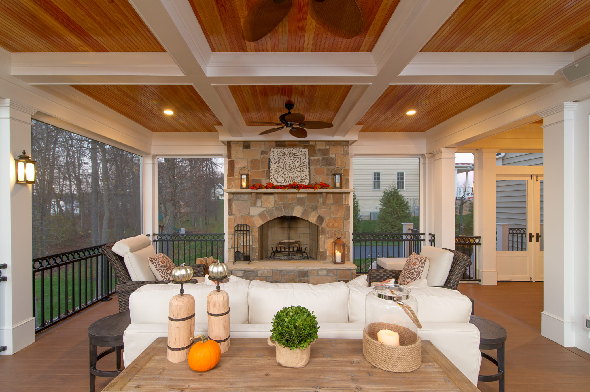 Screen Porch With Fireplace Maryland Screened